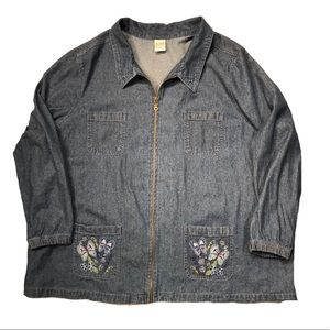 plus 3X Blair denim jacket Butterfly pockets